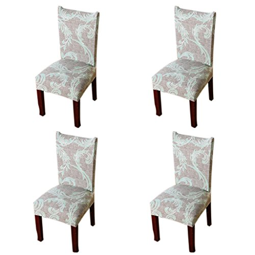 Jiuhong Stretch Removable Washable Short Dining Chair Protector Cover Slipcover, Style 32, 4 Pack