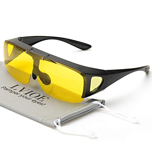 Oversized Night Vision Glasses, Wrap Around Style, Fit Over Regular Prescription Glasses with Flip Up Polarized Lens (Black Half Frame/Flip Up Yellow Lens)