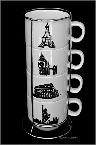 Set 4 World City Porcelain 4oz Stackable Demitasse Espresso Cups on Chrome Rack