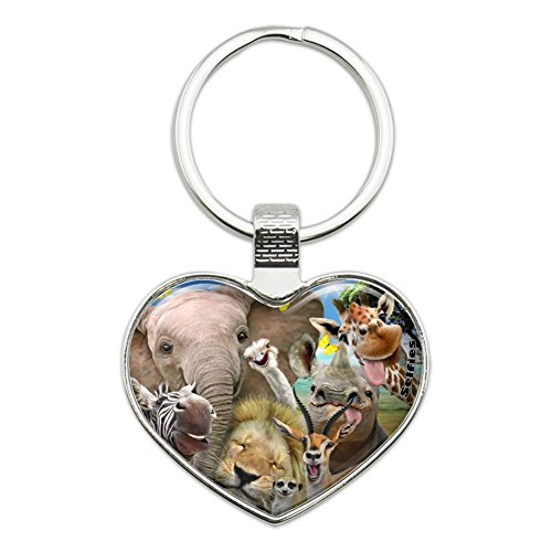 Africa Animals Selfie Giraffe Elephant Lion Zebra Heart Love Metal Keychain Key Chain (Zebra Chain)
