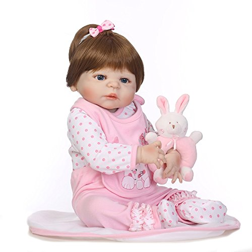 Full Silicone Body Realistic Reborn Baby Doll Girl Pink Outfit with Toy Rabbit 24 Inches by Yesteria