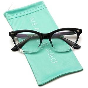WearMe Pro - Fashion Vintage Womens Clear Lens Cat Eye Glasses (Gradient Black Frame, 50)