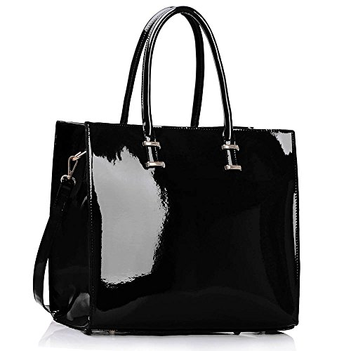 Black Patent Leather Handbag: Amazon.com