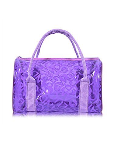 Melissa Wilde Pvc Transparent Handbag Women Handbags Bags Summer Handbag Brand Famous Cheap Solid Candy Bag Letter Pattern Beach Bag Violet (Barrel Violet Transparent)