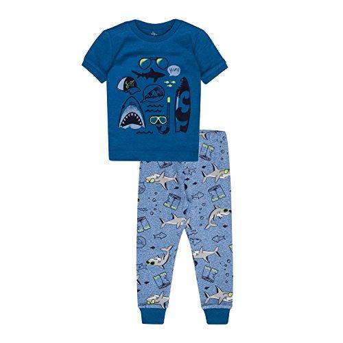 Petit Lem Boys' Little 2-Piece Pajama Set, Comfortable, Cute and Cozy Softness, Blue Denim, 3