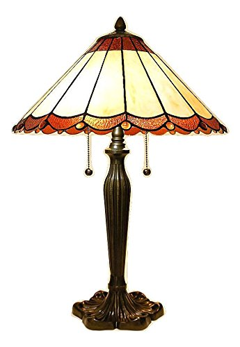 23'' Tiffany Style Scallop Neutral Table Lamp with Bronze Metal Base by Serena D'italia