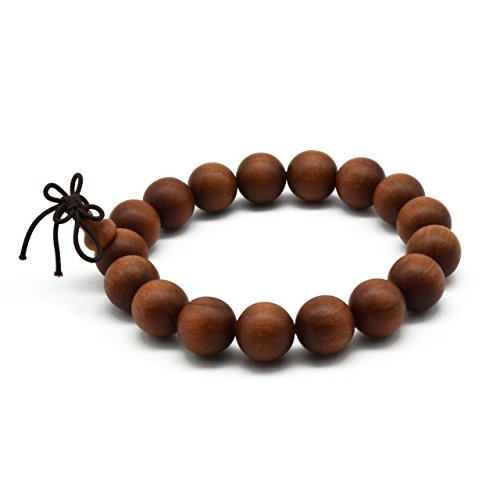 Zen Dear Unisex Teak Wood Prayer Beads Buddha Buddhist Beads Japa Mala Necklace Bracelet Beads (12mm 17 Beads)