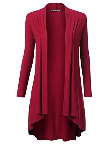 URBANCLEO Womens Solid Ribbed Hi-Lo Open Front Long Cardigan Burgundy, 2XL (Ribbed Open Cardigan)