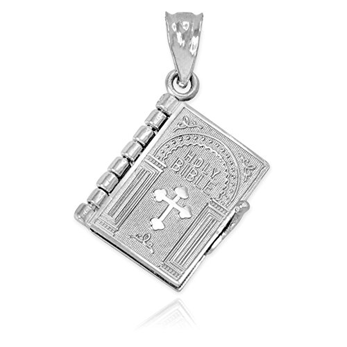 Polished Sterling Silver 3D Holy Bible Book w/Lord's Prayer Charm Pendant (Prayer Bible Charm)
