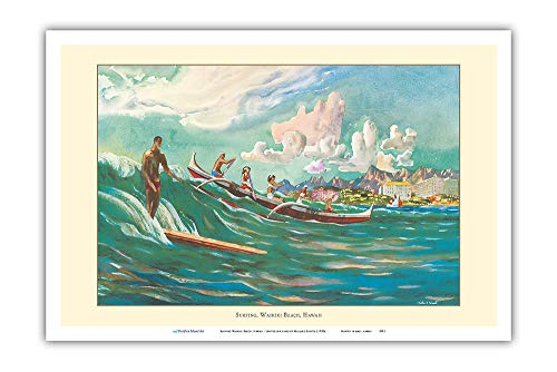 Pacifica Island Art - Surfing Waikiki Beach, Hawaii - United Air Lines - Vintage Airline Travel Poster by Millard Sheets c.1950s - Master Art Print - 12in x ()