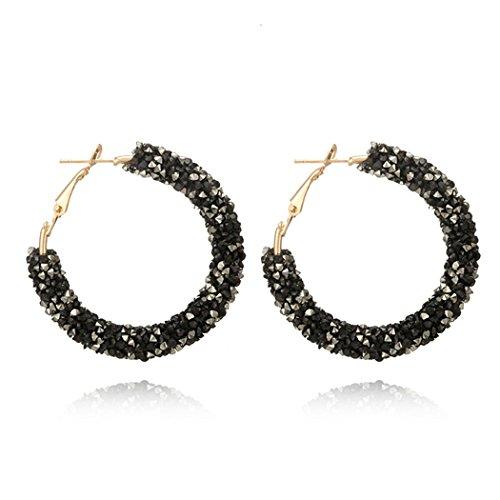 Myhouse Women Girls Circle Earrings Fashion Wild Crystal Rhinestone Earrings Metal Circle Semicircular Earring Earrings Charms Findings (White and -