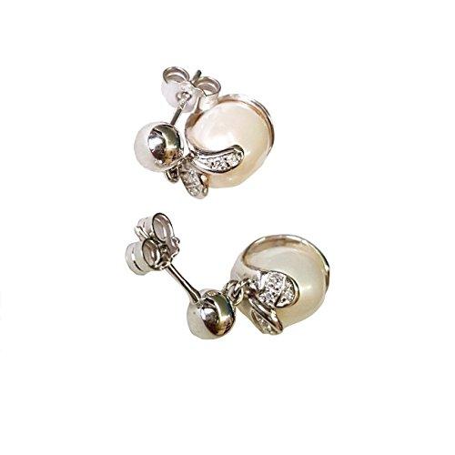 Boucles D'Oreilles Femme en Or 18 Carats (750 Millième avec Perle D'eau Douce et 0,05ct Diamant F VVS 0,05ct G