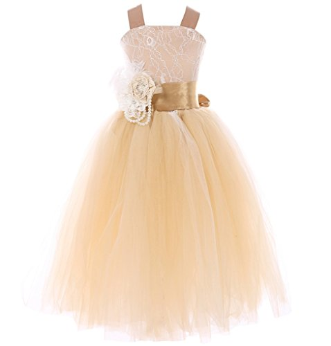 (FAYBOX Pageant Wedding Flower Girl Dress Crossed Back Bow Feather Sash Fluffy 8 Gold)