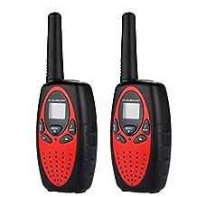 FLOUREON Twin Walkie Talkies for Kids 22 Channel Two Way Radios FRS/GMRS3000m UHF Long Range Built-in Microphone Hand Free Best Walkie Talkie (Red)