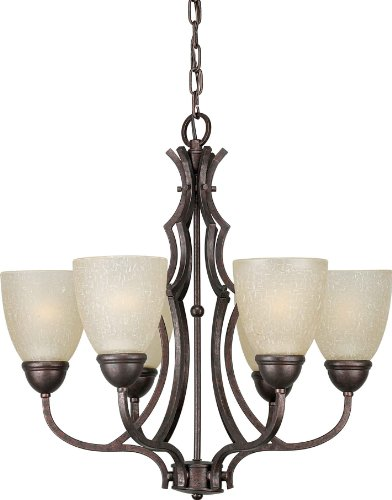 (Forte Lighting 139337 2281-06-27 Chandelier with Umber Linen Glass Shades, 28