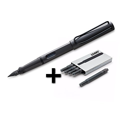 Lamy Safari Fountain Pen (17F) Umber + 5 Black Ink Cartridges