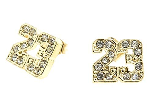 Number # 23 Basketball Gold Tone Iced Out CZ Stud Hip Hop Bling Jordan Earrings