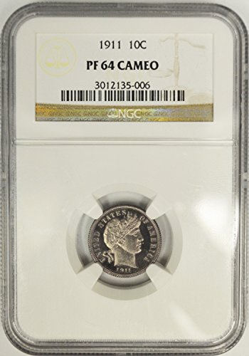 1911 Barber Dime NGC PF64 Cameo, (Silver Proof). - Ngc Dimes