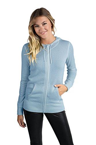 JENNIE LIU Women's 100% Pure Cashmere Long Sleeve Zip Hoodie Cardigan Sweater (M, Sky) (Zip Cashmere Sweater)