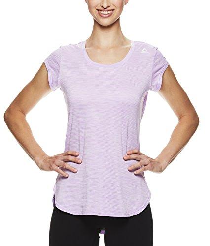 Training Sleeve Short Top (Reebok Women's Legend Performance Short Sleeve T-Shirt with Polyspan Fabric,Violet Tulle Heather,1X)