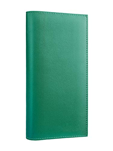 Kookio Leather Checkbook Cover With Card Slots for Duplicate Checks RFID Blocking For Men and Women (Green)
