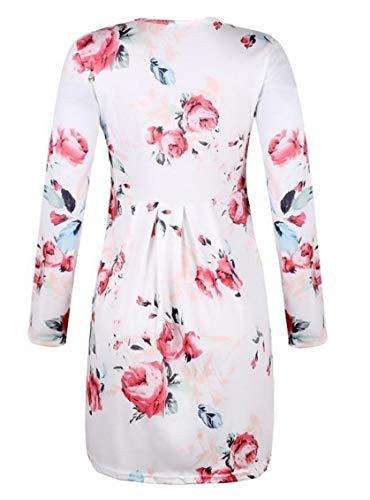 Jaycargogo Manches Longues Casual Femmes Floral Plissé Évasé Partie Mini-robe Blanche