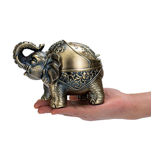 YINASI Elephant Ashtray Metal Lucky Creative Ashtray Windproof Desk Decor with Lid for Office Living Room Bedroom Bar Hotel, Gold Retro