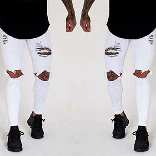Da Vestibilità Casual Denim Jeans Strappati Pantaloni Con Bianca Skinny Destrutturati Uomo Slim Fit Stretch 5XIx18x