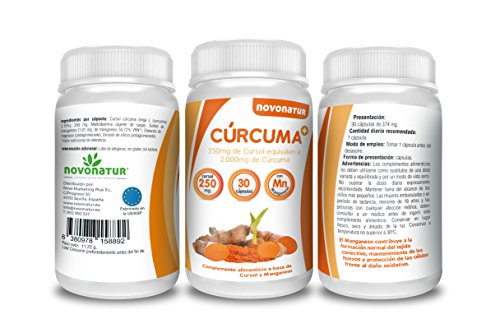 Curcuma en cápsulas con Manganeso, 250 mg de cursol equivalente a 2.000 mg de curcuma natural, potente antiinflamatorio y antioxidante natural, 30 cápsulas.