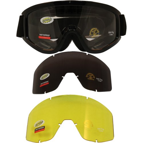 - Birdz Vulture MX ATV Outdoor Goggles Black Frame with Interchangeable Lens Kit Clear Smoke Yellow