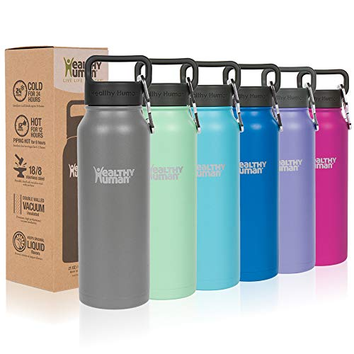 Healthy Human Classic Collection Insulated Stainless Steel Water Bottle Stein - Cold 24 Hours/Hot 12 Hours - Double Walled Vacuum Flask - 21 oz Slate Gray