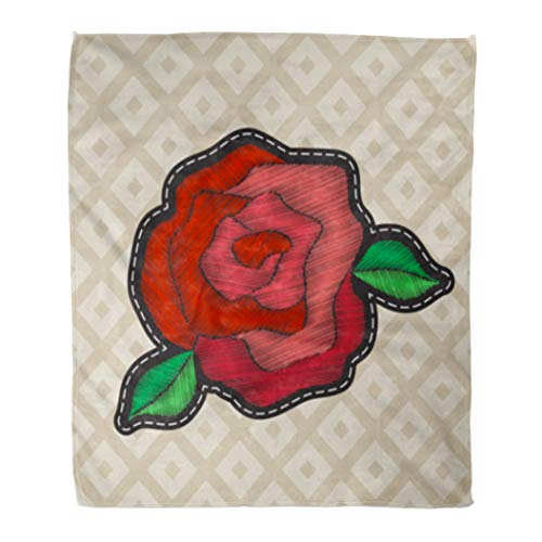 Golee Throw Blanket Red Rose Patch Designer Canvas Diamond Pattern Satin Stitch Needlework 60x80 Inches Warm Fuzzy Soft Blanket for Bed Sofa