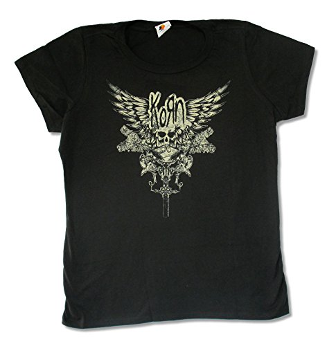 Bravado Juniors Korn Skull Wings Black Slim Fit Baby Doll T Shirt (Medium)