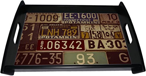 Sepia Wood (Gear New Serving Tray, Image Of Sepia Toned License Plates, Wood Black Espresso, GN25777)