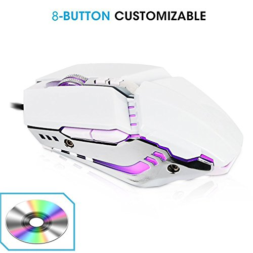 TESHIUCK Wired Gaming Mouse with 8 Programmable Buttons,3200DPI,Breathing Backlit LED,Usb Optical Games Mice for PC Computer Laptop Ps4 Macbook Mac Gamer - Vista Notebooks Intel