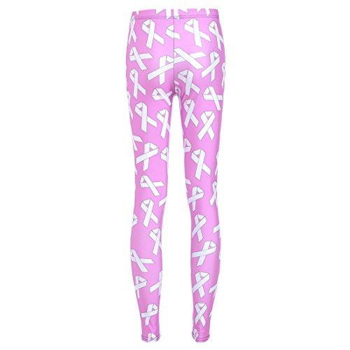 Women's 3D Pink Ribbon Bow Printed Push Up Full Length Leggings Pink
