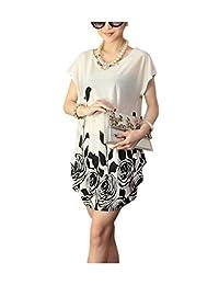 ARJOSA Women's Floral Patterns Short Sleeve Blouse Mini Dress Sleepwear