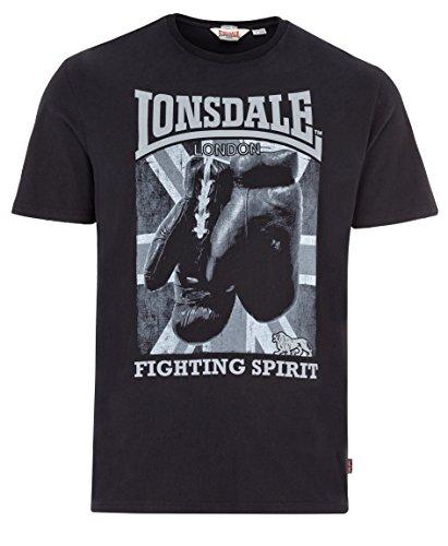 T-shirt Fighting Spirit (Lonsdale Men´s Regular Fit Premium Black T-Shirt Boxing Fighting Spirit Newtown (Large (L) Regular-Fit))