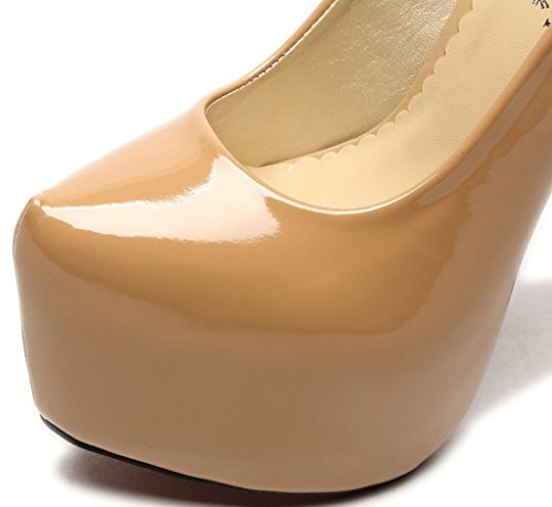 CAMSSOO Women's Platform Patent Pointed Toe Stiletto High Heel Party Court Shoes Beige DCqrXB5T
