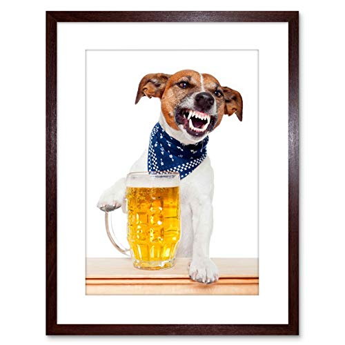 Poster Photo Jack - Wee Blue Coo Photo Jack Russell Dog Mug Beer Pint Drunk Art Print Framed Poster Wall Decor 9x7 inch