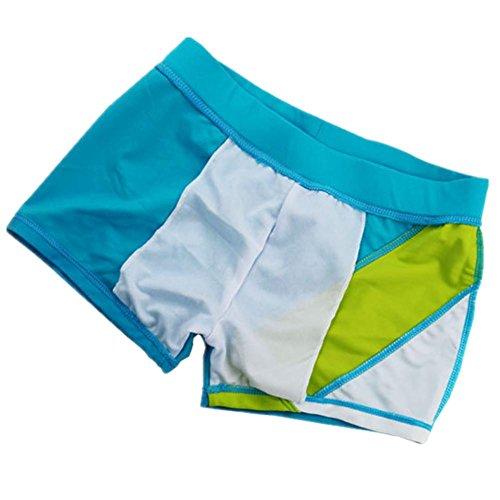 SHISHANG Muchachos pantalones horizontales cuatro esquinas de natación pantalones de 8 años de edad - 16 años de edad de color empalme de natación movimiento vadear Blue