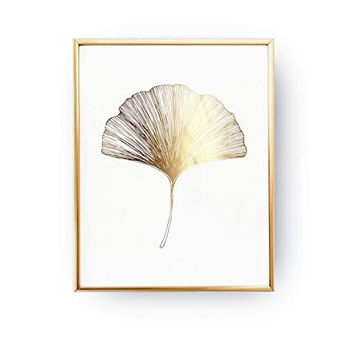 Ginko Leaf Wall - Ginko Leaf Print, Ginko Leaf Print, Wall Decor, Minimal Wall Art, Gold Foil, Plant Illustration, Botanical Art, Gold Home Decor, Wall Art.