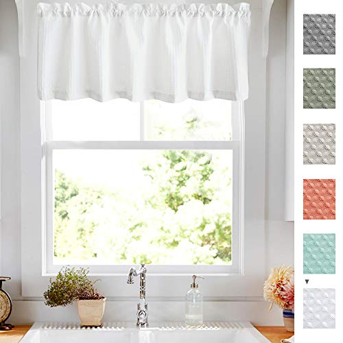 Lazzzy White Waffle Weave Textured Valance for Kitchen Water Repellent Bathroom Half Window Curtains 60