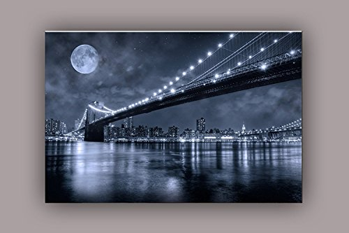 STARTONIGHT Canvas Wall Art Brooklyn Bridge, New York USA Design for Home Decor Dual View Surprise Artwork Modern Framed Ready to Hang Wall Art 31.5 X 47.2 Inch Original Art Painting by STARTONIGHT