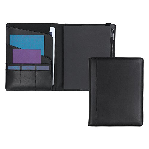 Samsill Writing Notebook Journal with Soft Faux Leather Padded Cover (Black), 100 Lined Sheets (200 pages) with Tablet Pocket (Fits Tablets up to 10.1 Inchs)