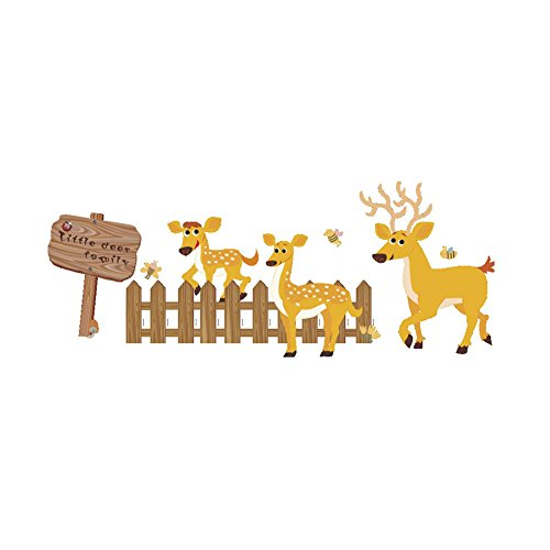 Winhappyhome Little Deer Family Wall Art Stickers for Bedroo