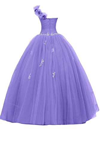 Ballkleid Schulter Hot Pink Eine Lang Women's Abendkleider Ball Quinceanera Appliques Lila Fanciest Kleid wvSEqx