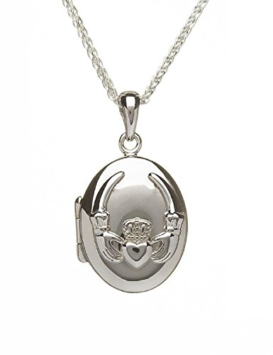 Boru Jewelry Irish Claddagh Locket Sterling Silver Embossed Made in Ireland