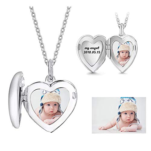 (Funcok Personalized 925 Sterling Silver Custom Photo Heart Locket Pendant Necklace)