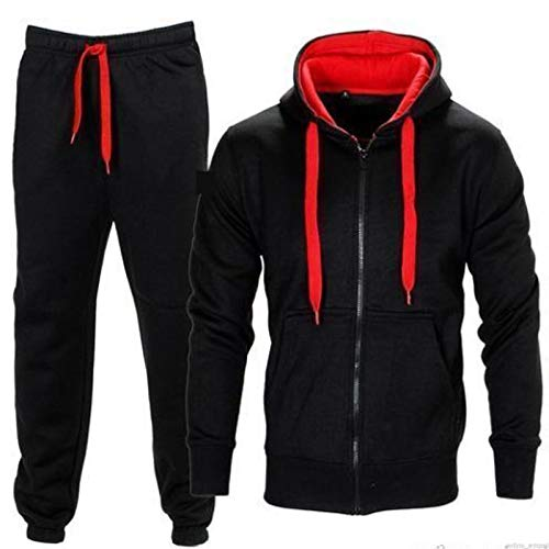 FLIRTY WARDROBE Mens HNL Tracksuit Joggers Hoodie Sweatshirt Pants Sweats Bottoms Plus Size UK (S, Black/Red 420)